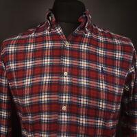 Ralph Lauren Mens Flannel Shirt XS Long Sleeve Red Regular Fit Check Cotton