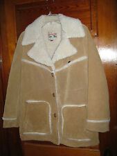 Rare Women's Vintage Lee Storm Rider Leather Sherpa-Lined Chore Jacket Size 14