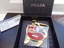 Gorgeous Authentic PRADA Gold & Red Cat Keyring / Bag Charm BNIB