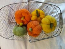 5 Hand  knitted  Pumpkins  lovely  Autumn  shades basket NOT  included