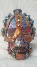 """Custom Handmade Steampunk 4"""" Skull Oil Lamp Bottle Fire Breathing Halloween"""