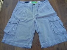 """RIVER ISLAND Men's Blue & White Stripes Cargo Shorts W30"""" - WORN ONCE- EXC. COND"""