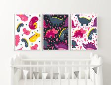 Dinosaur Nursery Pictures / Girls Bedroom Prints - Set of 3 / Decor Ideas
