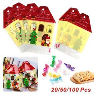 Christmas Self Adhesive Seal Cellophane Plastic Bags Wrap Garment Large Sweets