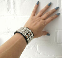 Black faux leather 3 row silver studded buckle wristband  emo - goth - unisex