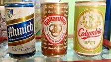 3 Vintage Flat Top & Pull Tab Steel Beer Cans 12 Oz