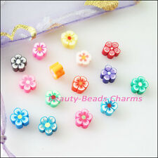 60Pcs Mixed Handmade Polymer Fimo Clay Star Flower Flat Spacer Beads Charms 6mm