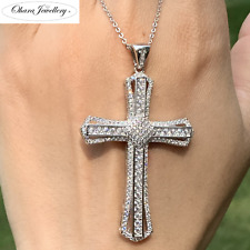 925 Solid Sterling Silver Large Cross Cubic Zirconia Women Necklace Jewellery