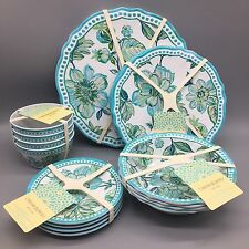 20pc Cynthia Rowley Plates Bowls Appetizer Set Melamine Outdoor Turquoise NEW