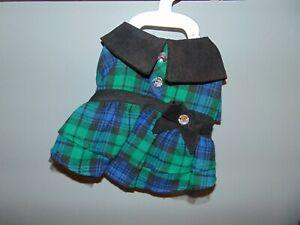 Dog Plaid Blue/ Green Dress Size Small