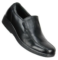 Gravity Defyer Mens Loafers Size 9.5M Black Leather Slip On Bicycle Toe Shoes