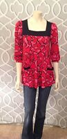 INC International Concepts Tunic Top S Small 3/4 Sleeve Red Black Pink Euc
