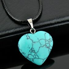 Fashion heart-shaped natural stone Turquoise pendant necklace