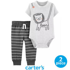 Authentic CARTER'S Baby Boy Gray Lion Bodysuit and Striped Pants Set 12M 18M