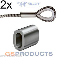 2x 1,5 mm in Alluminio Filo di Acciaio Corda Fine STOP PUNTALI Wire Rope End Cap Gratuito P+P