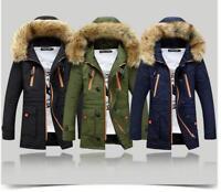 Mode boy Homme Chaud Veste à Capuche Fourrure épais Manteau d'hiver Outwear Coat