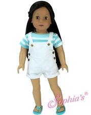 "White Denim Overall Shorts & Aqua Striped Tee Shirt fit 18"" American Girl Doll"