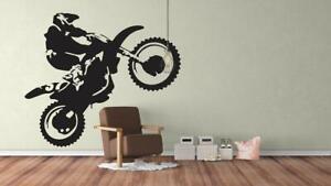 Dirt Bike Trick Wall Sticker Motocross Motorbike Wall Decal Boys Bedroom Decor