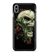 Crimson Red Tulip Covered Furious Angry Roaring Skull Face 2D Phone Case Cover