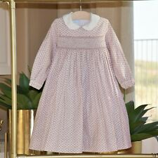 Anavini Girls Pink Hand Smocked Floral Dress Size 6 EEUC