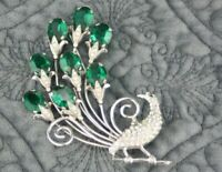 Huge Vintage Antique Art Deco Sterling Silver Emerald Glass Peacock Bird Brooch
