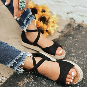 Women Flat Espadrille Ankle Strap Sandals Ladies Casual Peep Toe Beach Shoe Size