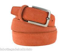 Cintura in camoscio arancio da uomo artigianale made in Italy 3,5 cm