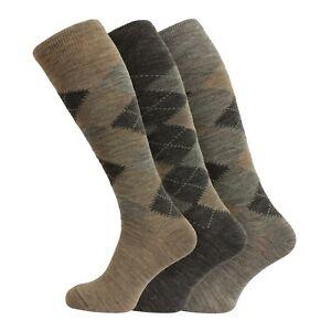 Mens 3/6 Pairs Soft Lambswool Extra Long Knee High Socks UK 6-11 - BROWN ARGYLE