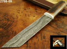 """10.5"""" HANDMADE DAMASCUS STEEL TACTICAL FIXED BLADE TANTO KNIFE TOP! (2798-9"""