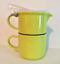 FORLIFE Tea for One Stacking Teapot Cup and Infuser Green Ceramic 14 oz