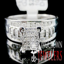 LADIES WOMEN 10K WHITE GOLD GENUINE DIAMOND ENGAGEMENT WEDDING BRIDAL RING BAND