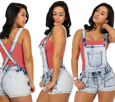 New Women Lady Sexy Hot Pants Summer Acid Wash Elastic High Waist Overall Shorts