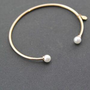 Lady's 18K Rose Gold Filled 6mm Fashion Pearl Love Charm Bangle Bracelet Gift