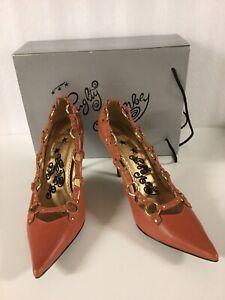 Naughty Monkey By Escada Leather Orange Stiletto Shoes 8.5 39.5 Worn Once