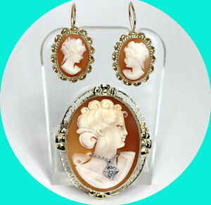 VVS diamond cameo pin brooch pendant & earring set 14K YG round brilliant .05CT