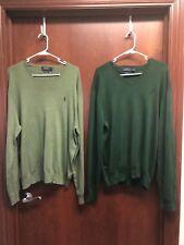 Polo Ralph Lauren Size XL Sweater Lot of 2 Mens Pima Cotton V-neck Green