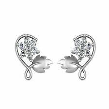 925 Sterling Silver Round Cut White Diamond Push Back Flower Leaf Stud Earrings.