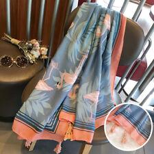 Women Flamingo Leaf Tassel Cotton Linen Travel Soft Long Scarf Shawl Newly