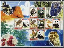 2005 owls M/S 5 values birds of prey scouts panda bear minerals