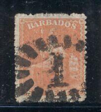 BARBADOS 20a SG21 Used 1861 6p ver Britannia Rough Cut Perf 14&1/2 Unwmk Cat$32