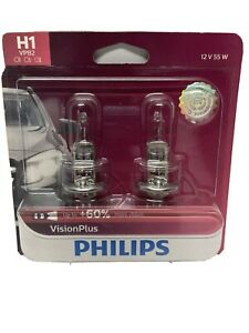 Philips Genuine H1 12258VPB2 Upgrade VisionPlus Halogen Light Bulb, +60% Light