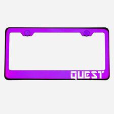Purple Chrome License Plate Frame QUEST Laser Etched Metal Screw Cap