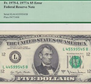 ERROR NOTE - RARE MISMATCHED SERIAL NUMBERS ERROR - Fr. 1975-L  SERIES-1977-A