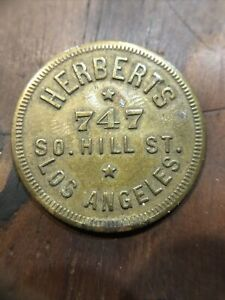 Rare Vintage Herberts Parking Token Coin Los Angeles LA CA California Hill St