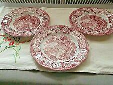 WEDGWOOD 3 Assietrtes dessert Scottish Lochs roses et blanches