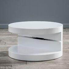 Modern Design White Hi-Gloss Circular Swivel Rotating Coffee Table