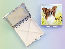 Papillon Dog 4 Compartment Square Metal Pill Box PBP-2 by paws2print