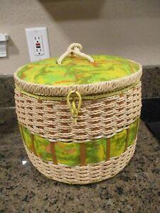 Vintage sewing basket, green floral, JC Penny, Large round sewing basket