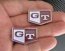 GT RED SMALL CAR BADGE PAIR Door Trim Emblem fit Datsun C210 Nissan Skyline C110