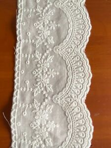 Cotton Embroidered Lace Fabric Trim 1 yard Width 8 cm